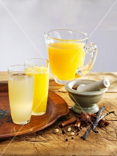 Various lemonades (spiced apple, spiced orange and peach melba)
