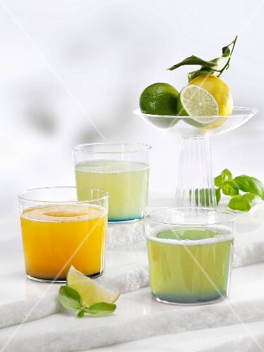 Various lemonades (apricot & basil, basil, and basil & ginger)
