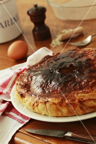 Savoy cabbage tart and baking ingredients