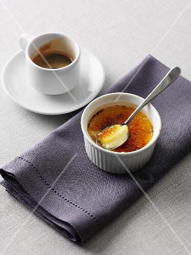 Creme Brulee and an espresso