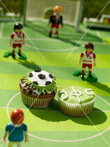 Cupcakes with football decorations