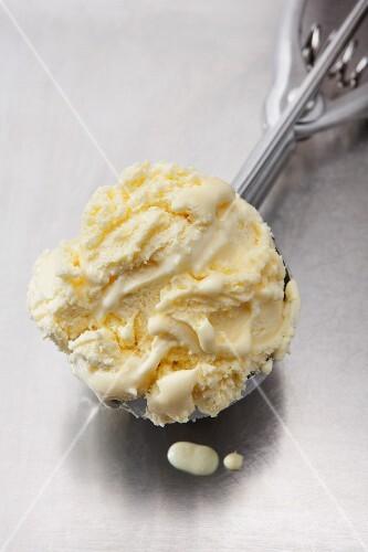 Vanilla ice cream in an ice cream scoop
