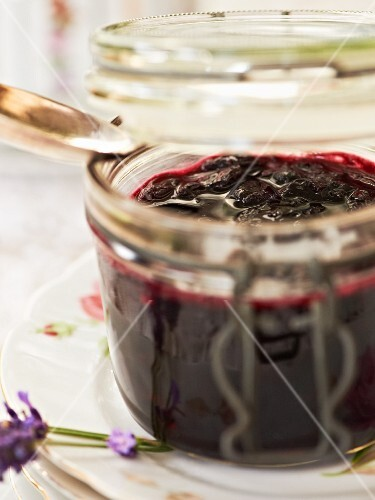 A jar of cherry and lavender chutney