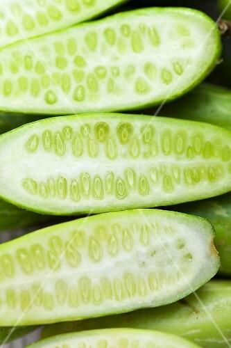Halved cucumbers