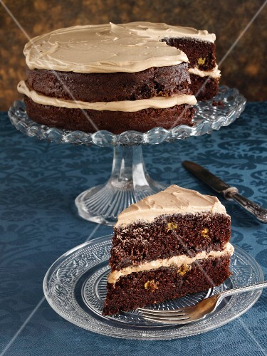 A chocolate layer cake with peanut butter cream