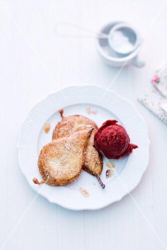 Pear cakes with blackberry ice cream