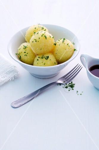 Potato dumplings with parsley