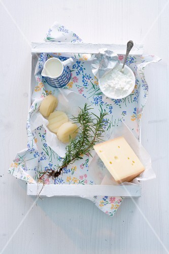 Cheese, dairy products and rosemary in a box