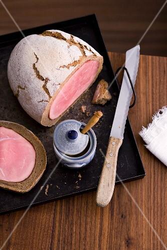 Ham in bread with mustard