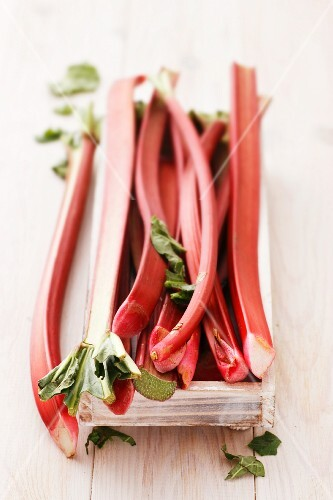 Rhubarb in a wooden crate