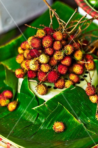 Fresh rambutans at a market in Haiphong, Vietnam