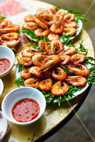 Fried prawns with a spicy oriental dip, Vietnam