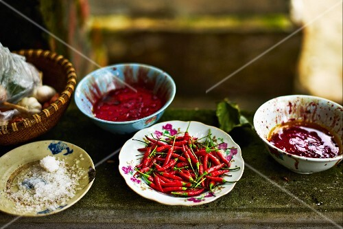 Chilli peppers and spicy sauces at a market in Haiphong, Vietnam