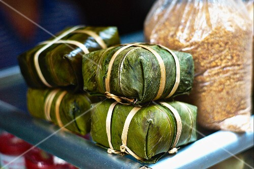 Banana leaf parcels filled with rice and meat, Vietnam
