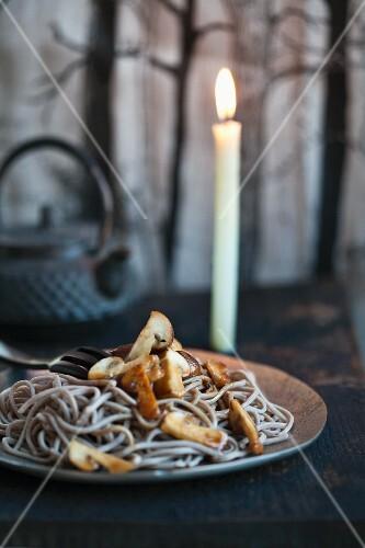 Buckwheat noodles with a mushroom sauce
