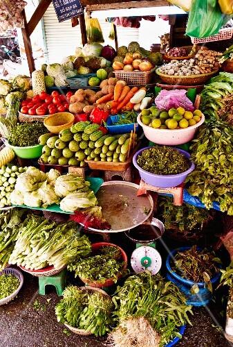 A vegetable stall at a market in Saigon (Vietnam)
