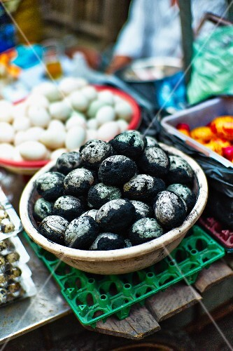 Various eggs at a market in Saigon (Vietnam)