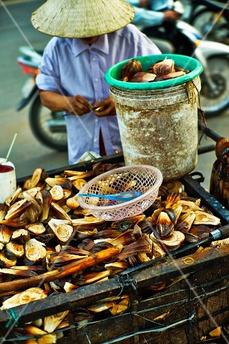 Fried banana flowers at a market in Saigon (Vietnam)