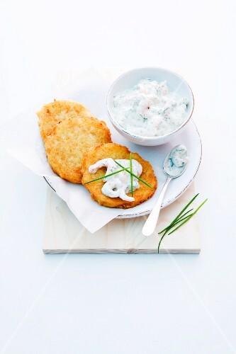 Potato cakes with shrimps and herb quark
