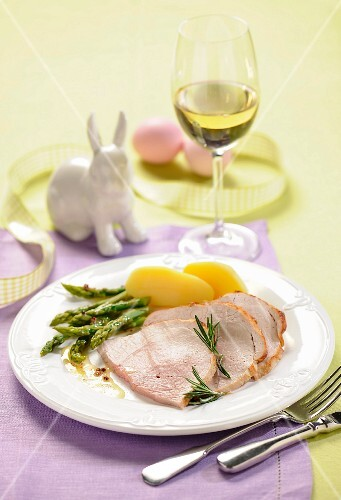 Roast pork with asparagus and new potatoes for Easter