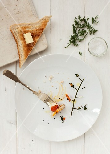Remains of a fried egg with tomatoes and toast