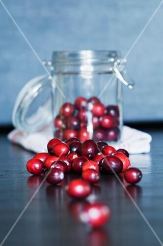 Cranberries in a preserving jar
