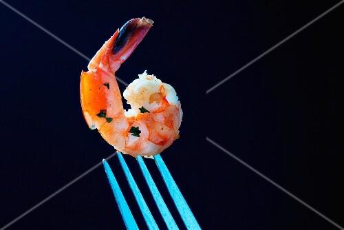 A garlic prawn