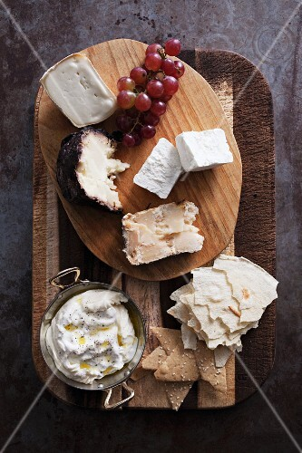 A mixed cheese platter (seen from above)