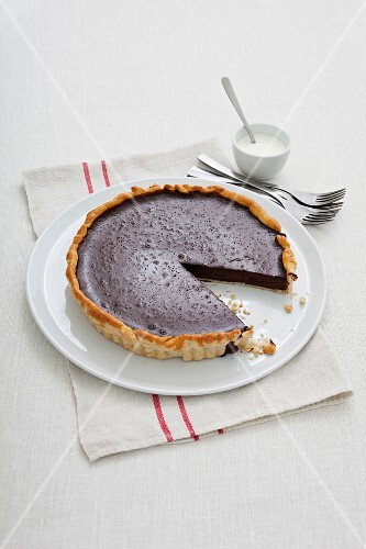 Sliced chocolate tart