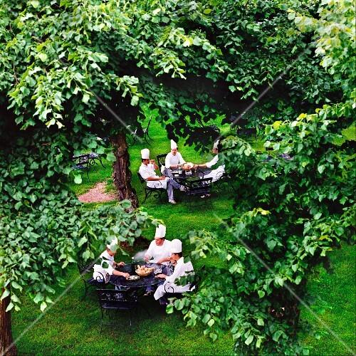 Chefs sitting in a garden
