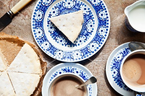 Biscuits and cups of coffee