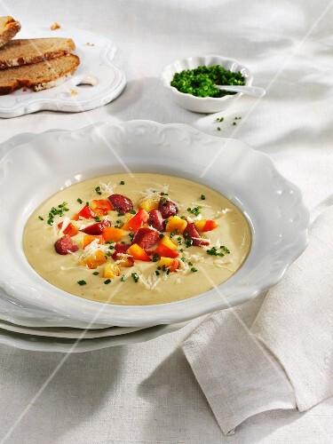 Düsseldorf potato and mustard soup with horseradish
