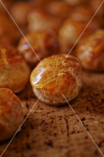 Balls of dough with a honey glaze