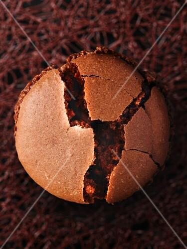 A broken chocolate macaroon