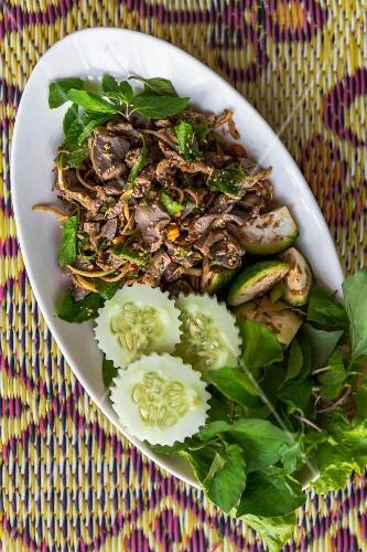 Larb phet (spicy Lao duck salad, Vientiane, Laos)