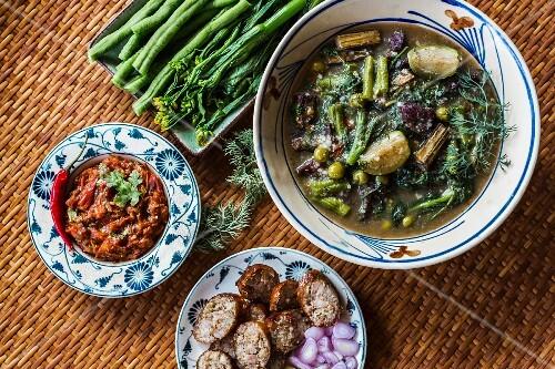 Vegetable curry, a tomato dip and sausage (Luang Prabang, Laos)