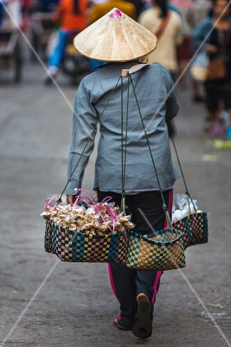 A heavily laden mobile street seller (Vientiane, Laos)