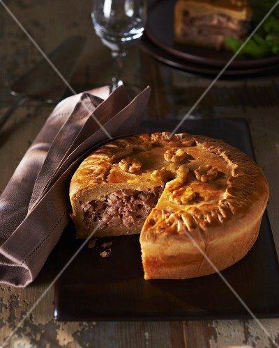 Pigeon pie, sliced