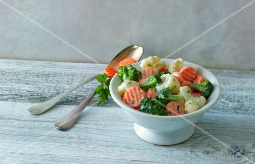 Garden vegetables in a creamy sauce
