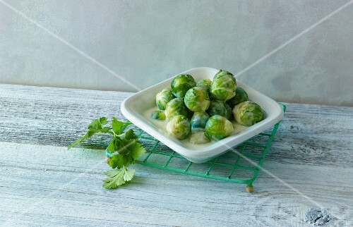 Brussels sprouts in a creamy sauce
