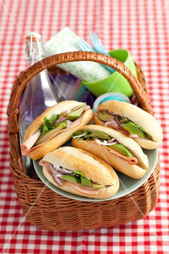 Ham and avocado rolls for a picnic