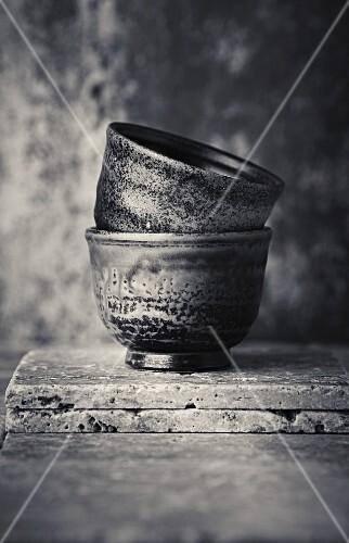 An arrangement of Japanese tea bowls