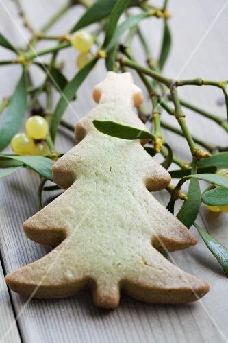 A Christmas tree biscuit and a sprig of mistletoe