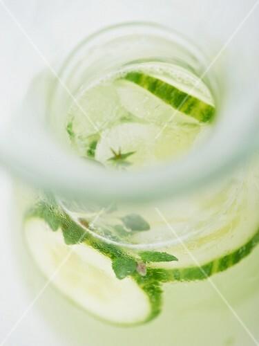 Homemade herb and cucumber lemonade (close up)