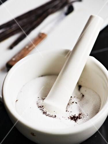 Vanilla sugar being made