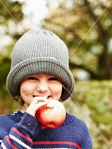 A little girl with an apple at an autumnal picnic