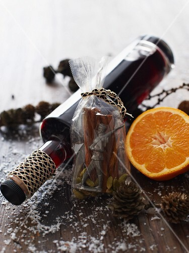 A bottle of mulled wine as a Christmas present