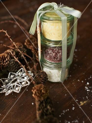 Various spiced salts as a Christmas present