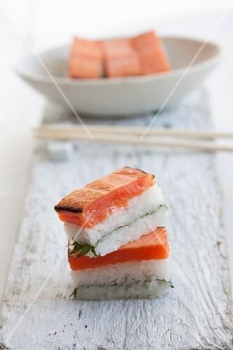 Rectangular salmon sushi