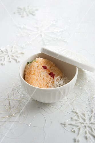 Rice balls (Onigiri) field with salmon and peppers (Christmas)